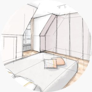 Sketch of a bedroom by Emilie Lagrange