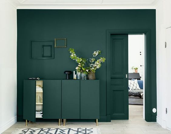 living room with dark green color block on wall and furniture