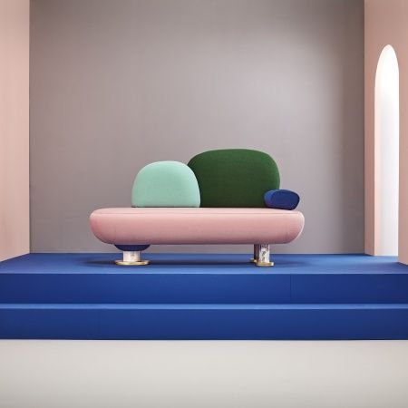 sofa on a blue stage