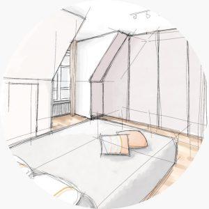 Sketch of a bedroom by Emilie Lagrange
