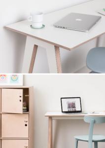 light wood and white laminated desk
