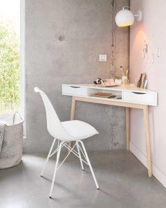 white triangle corner desk