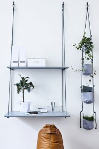 Blue hanging desk and shelf