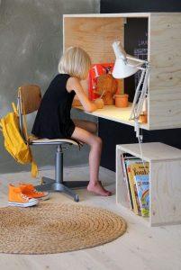 wall mounted wood box as a desk