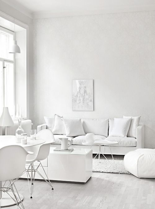 all-white living room